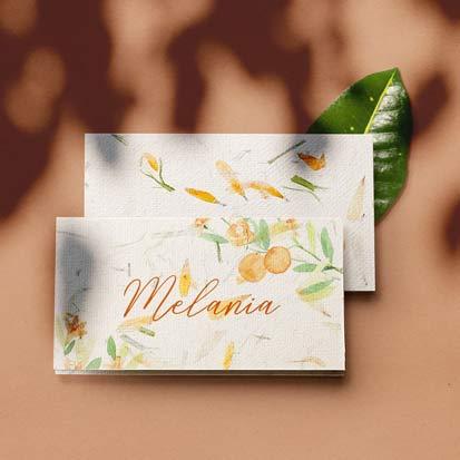 place carduri din hartei manuala cu petale de flori si acuarela