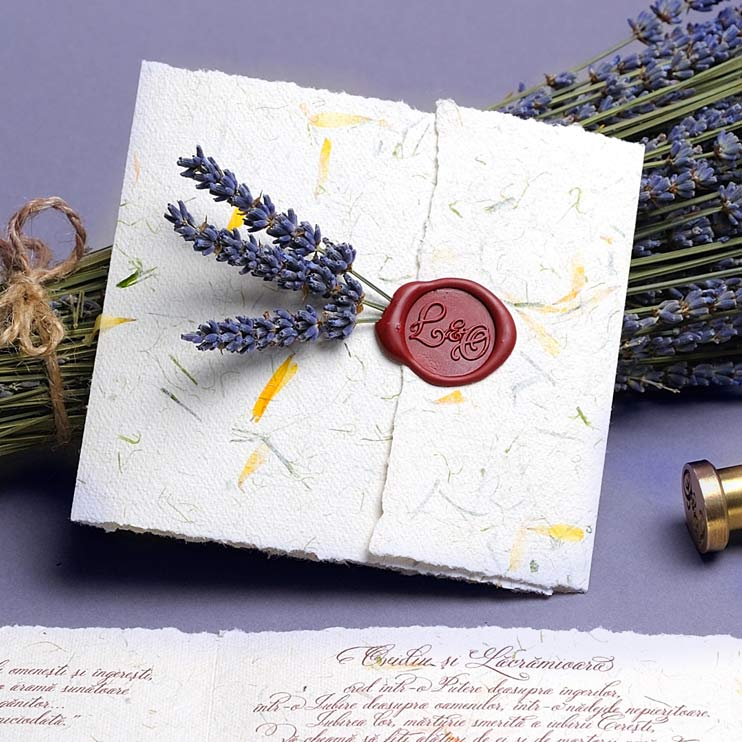 invitatie nunta hartie manuala
