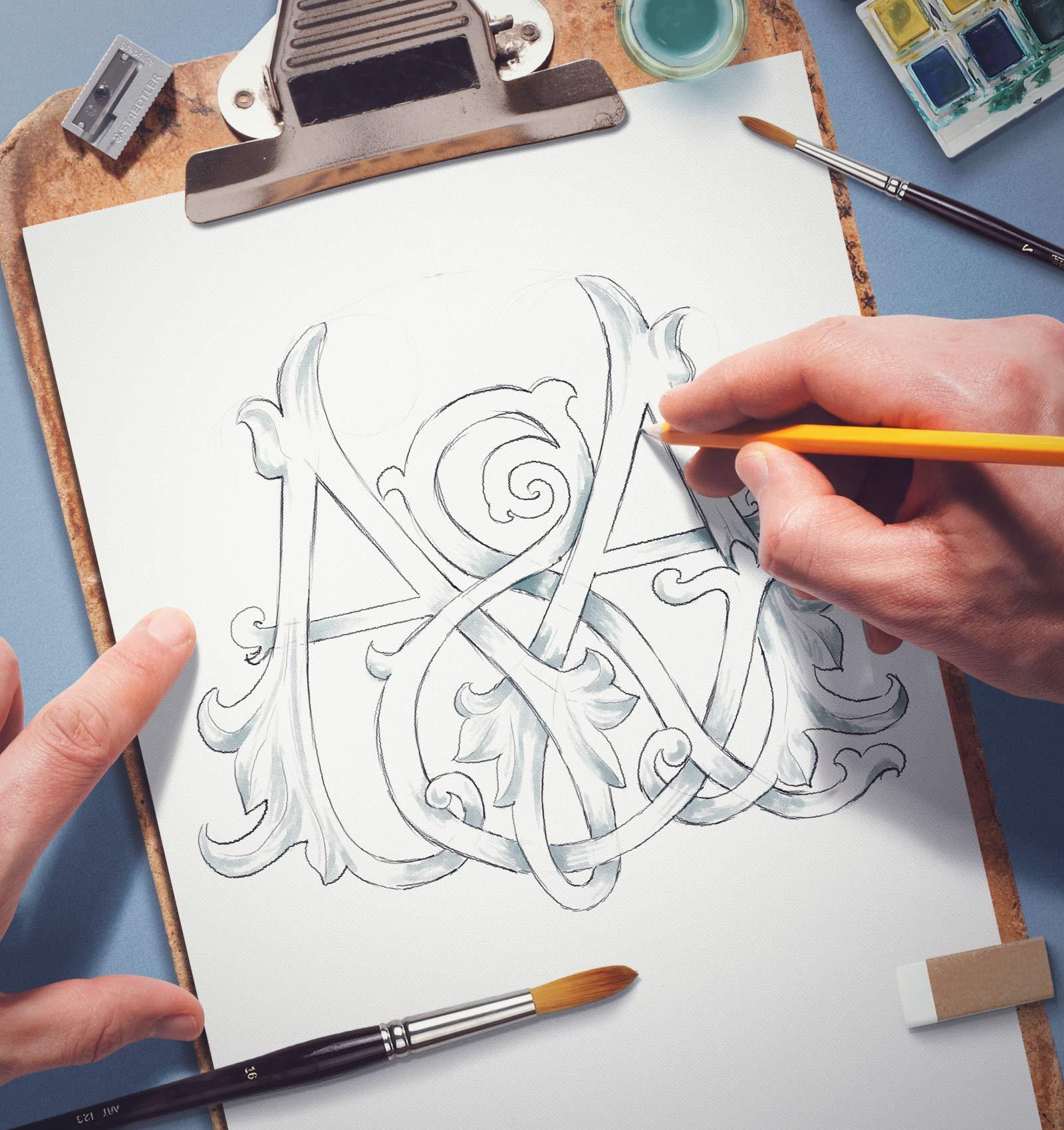 Design de monograma realizat la comanda special pentru evenimentul tau