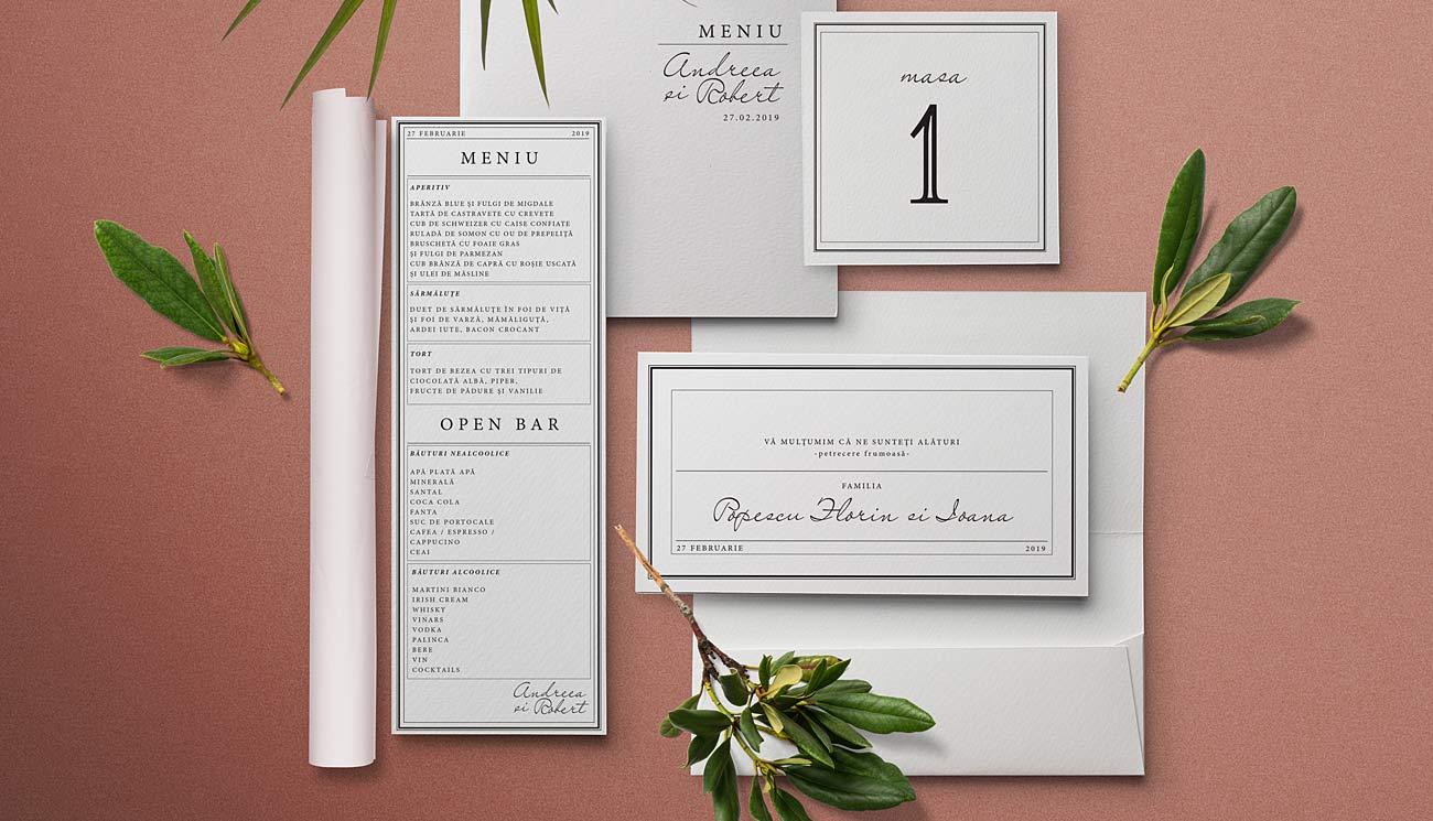 Invitatie Club Privat, un model de invitatie vintage, tip telegrama, cu design minimalist cu timbre personalizate si plic transparent din calc