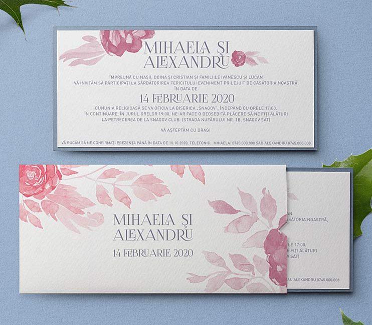 Blush pink este o invitatie moderna cu nuante de rosu, roz si gri, ilustratia este pictata in acuarela si printata pe hartie cu textura speciala