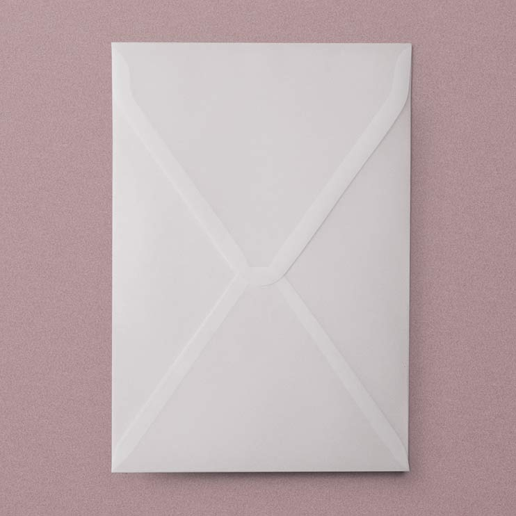 Vellum Wedding Envelopes, Plicuri din calc pentru invitatii de nunta - in format A5, 16 x 23 cm, hartie translucida din calc, hartie transparenta