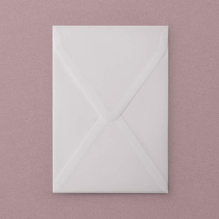 Vellum Envelope A6, Plicuri din calc pentru invitatii de nunta - in format A6 11,3 x 16,4 cm, hartie translucida din calc, hartie transparenta