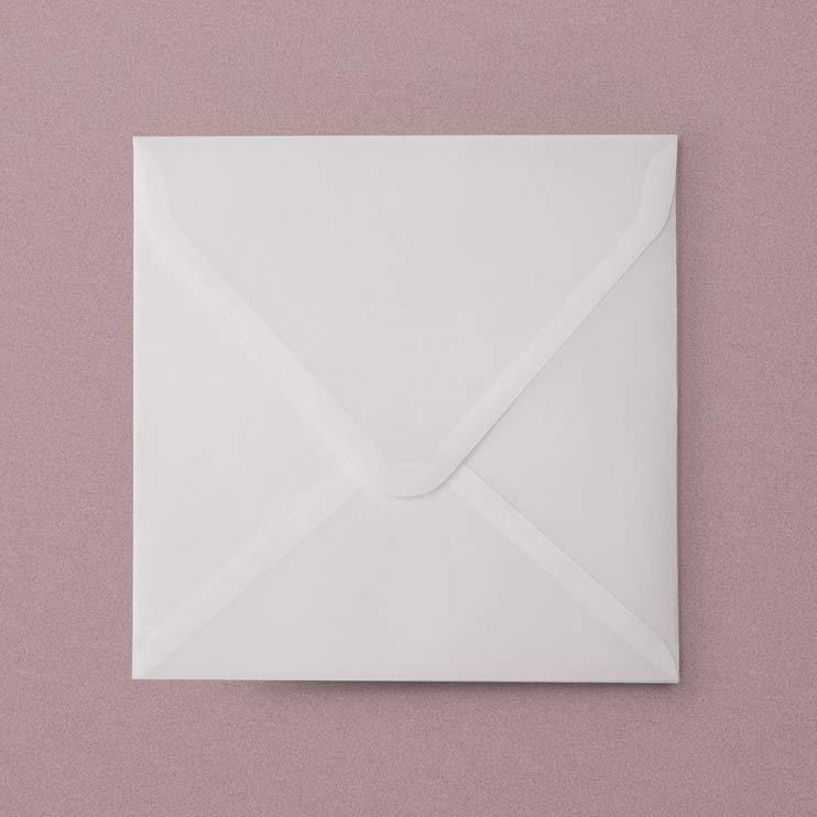 Vellum Envelopes, Plicuri din calc pentru invitatii de nunta - in format patrat 16 x 16 cm, hartie translucida din calc, hartie transparenta
