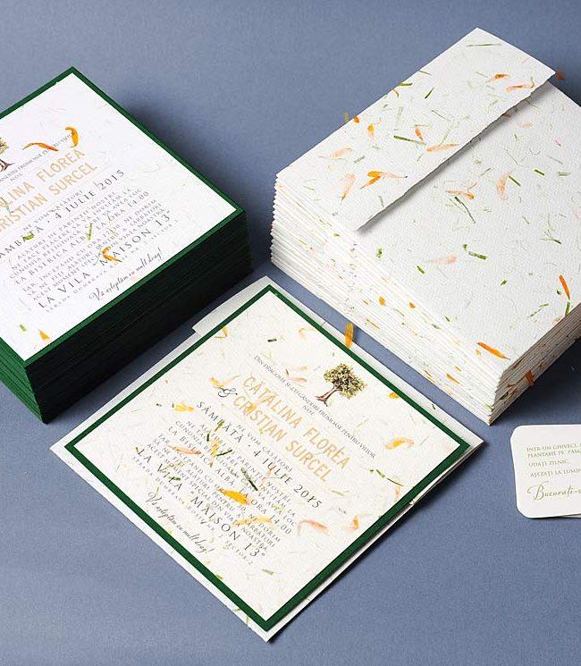 """Invitatie de nunta cu portocal din hartie manuala cu petale de flori, """"Giardino degli Aranci"""""""