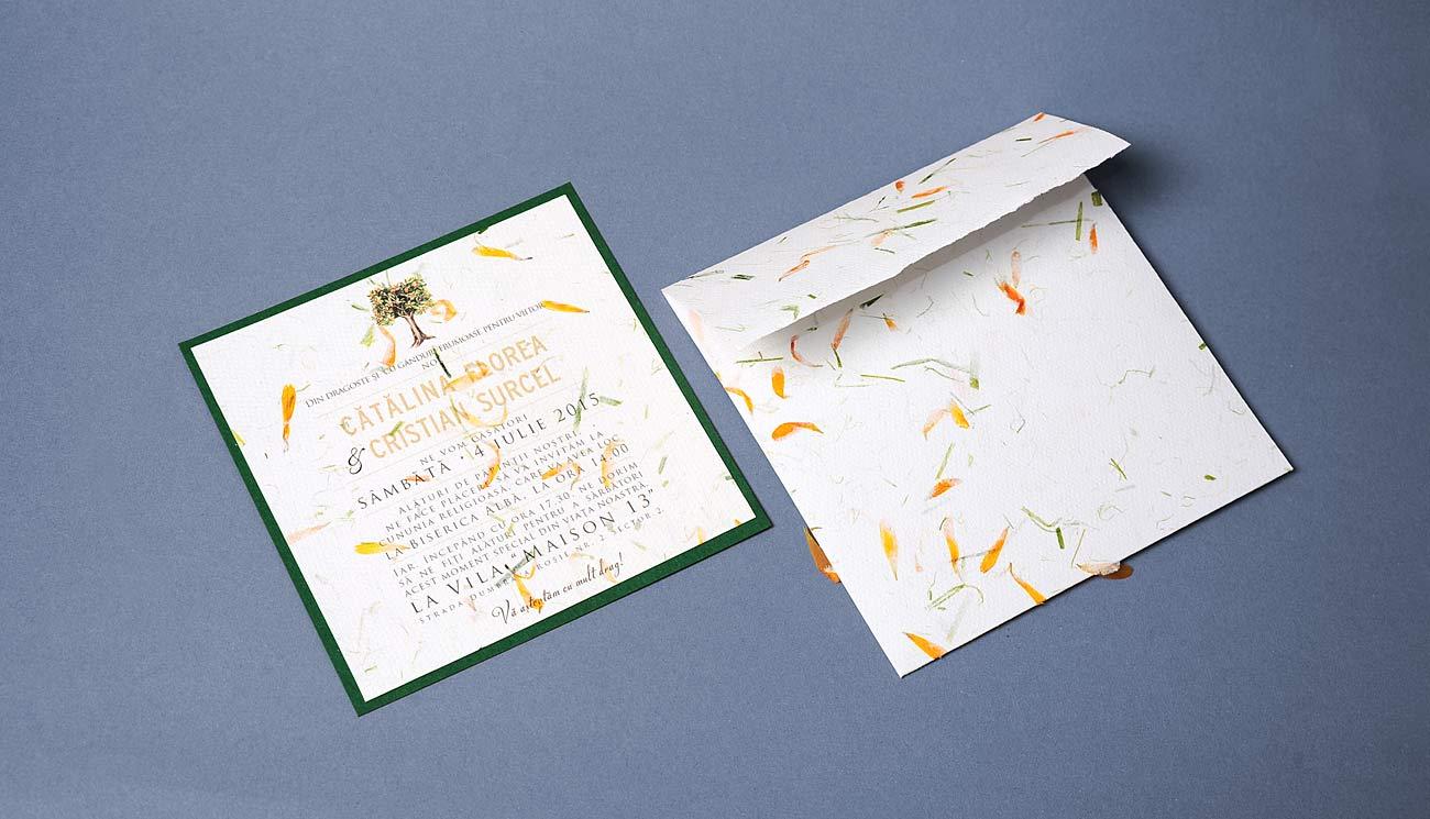 Invitatie cu ilustratie pictata de mana, portocal, hartie cu petale handmade paper