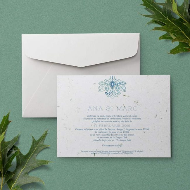 Romanian Blue Motif, handmade paper invitation, invitatie traditionala, invitatie romaneasca, invitatie de nunta cu motive traditionale romanesti, invitatie din hartie handmade, hartie manuala