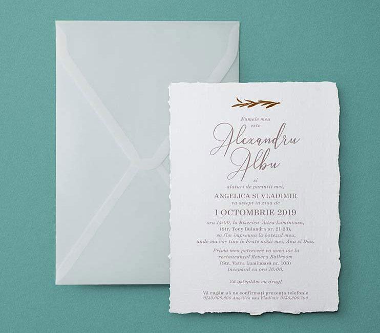 invitatii pentru botez, hartie manuala, invitatii simple, invitatii minimaliste