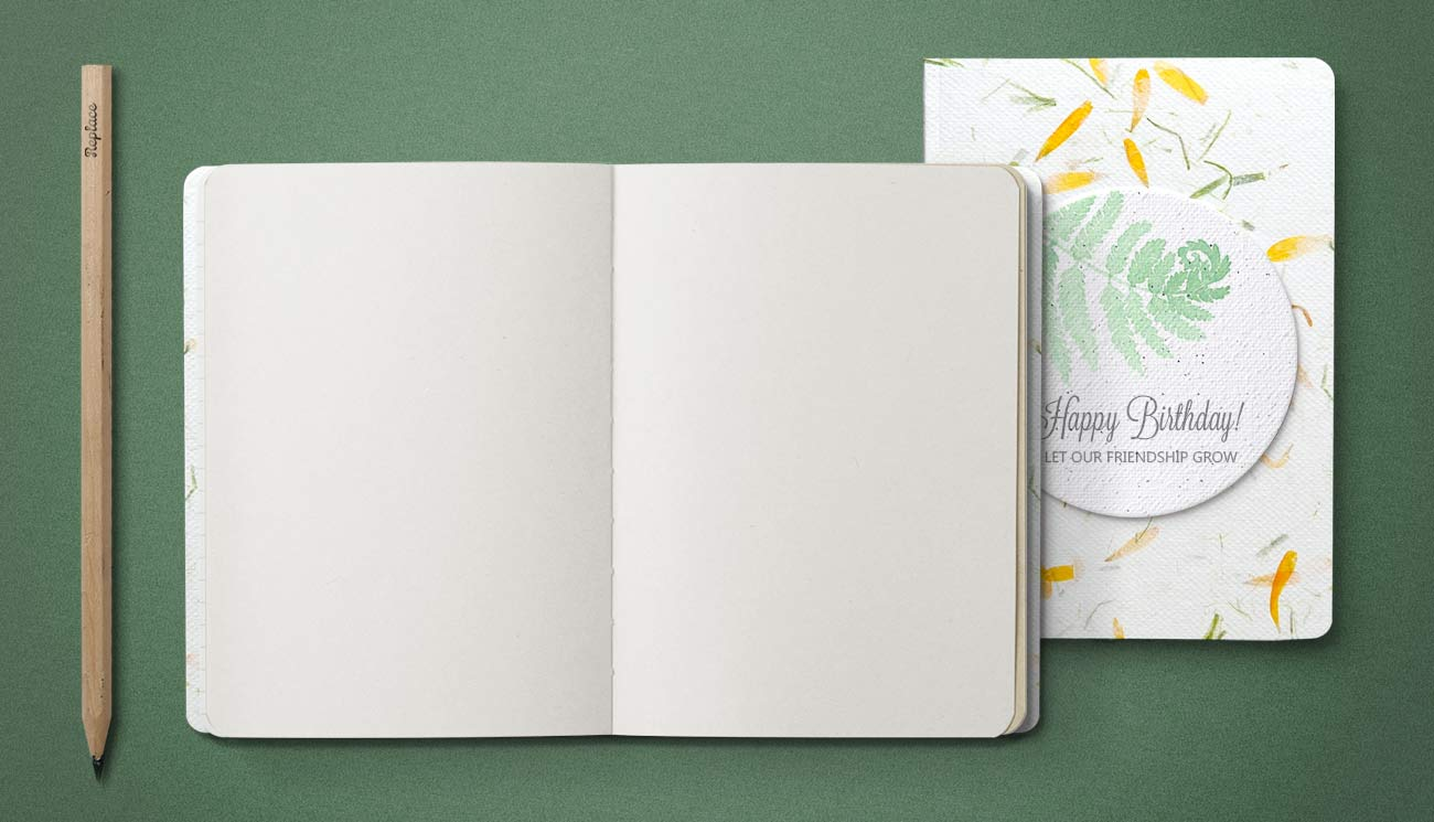 Handmade paper notebook, plantable seed paper