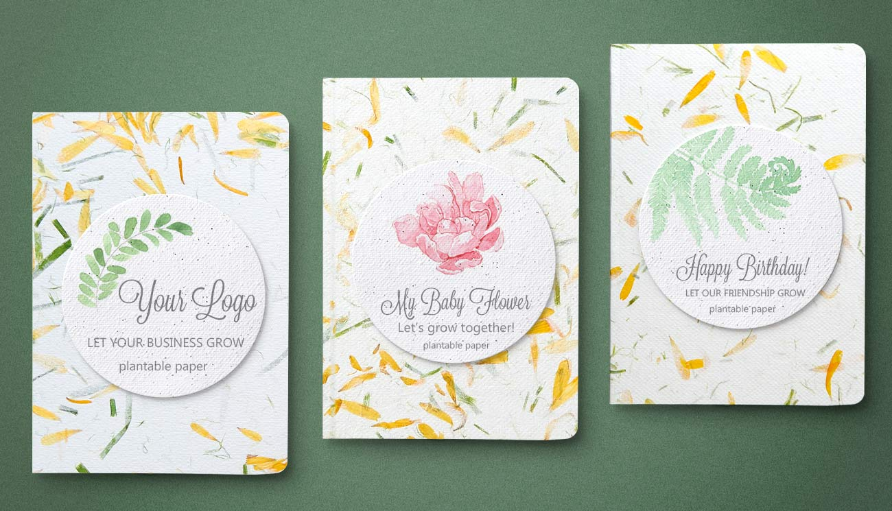 Notebook hartie manuala, plantable notebook, plantable paper and handmade paper with petals