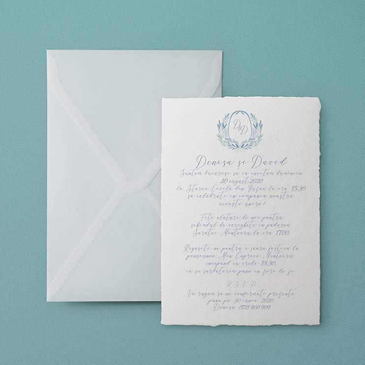 Deco Blue o invitatie vintage cu ilustratia pictata in acuarela si printata pe hartie manuala