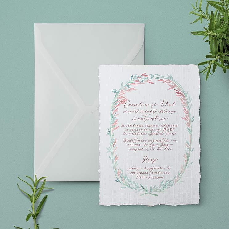 Invitatie de nunta Duo Pastel ilustratie pictata in acuarela, printata pe hartie manuala