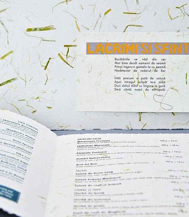 meniu lacrimi si sfinti, meniu din hartie manuala, handmade paper menu
